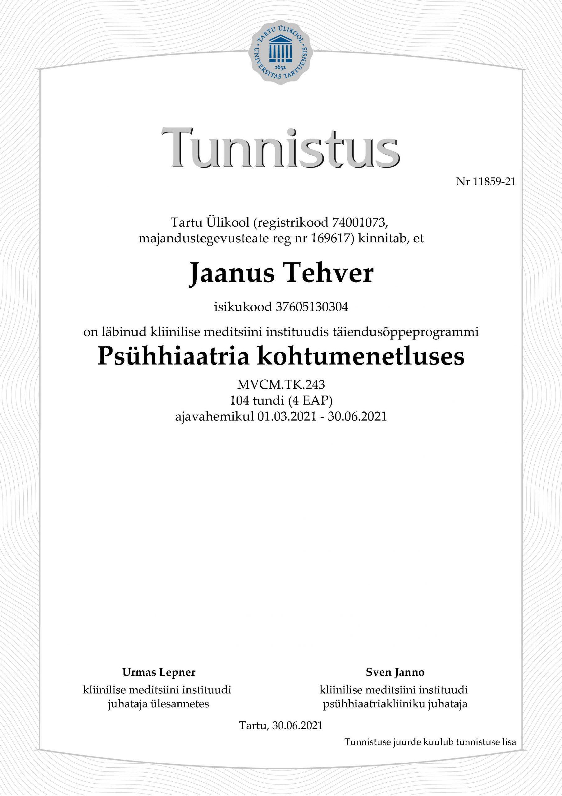 Jaanus_Tehver_tunnistus